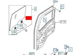 Стекло двери Isuzu NQR71-NQR75