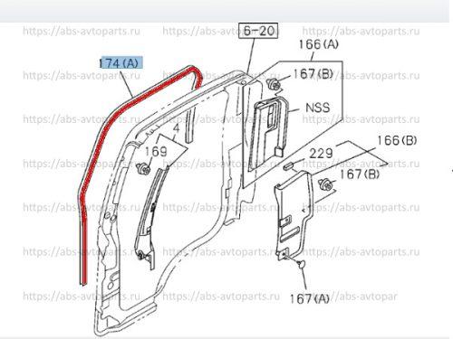 8981546650-Уплотнитель проема двери правый ISUZU NLR85 NMR85 NPR75 оригинал